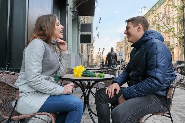 Couple in love in city