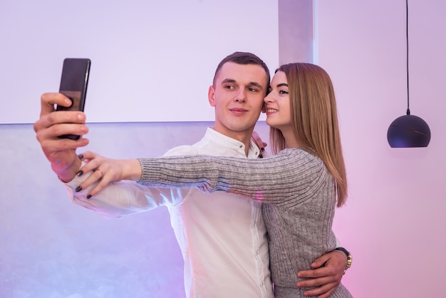 Couple in love making selfie on celebration of st. valentine's day