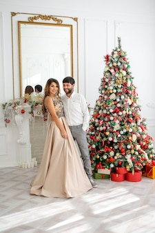 Couple in love in the new year interior