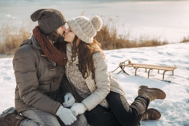 Couple in love outdoors on the winter