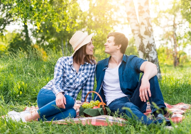 Couple in love at picnic in park