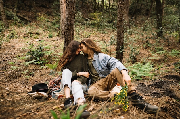 Couple in love together in nature