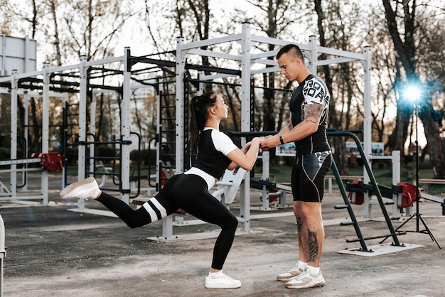 Couple in love training together