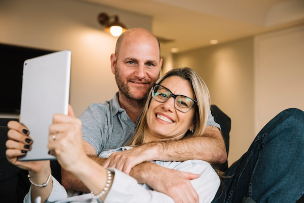 Couple in love using tablet