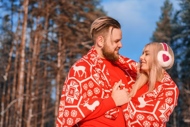 Couple in love on a walk in the winter , a romantic relationship between a man and a woman