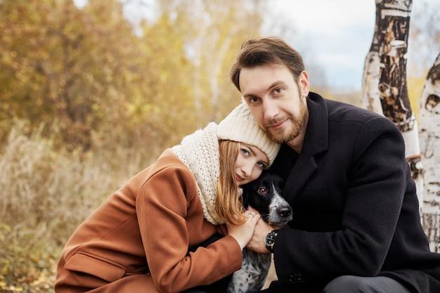 Couple in love walking in park