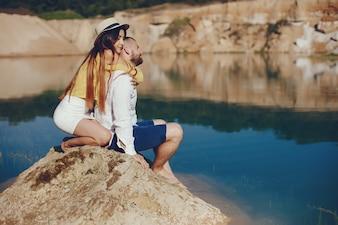 Couple near blue water