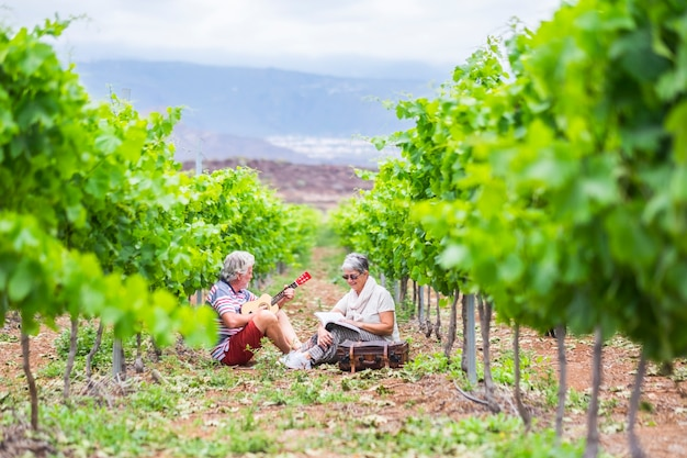 Пара альтернативных зрелых путешественников остаются сидеть в винограднике