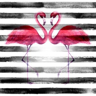 横縞の黒と白の背景に熱帯のエキゾチックなピンクのフラミンゴのカップル。水彩手描きイラスト。シームレスなパターン。