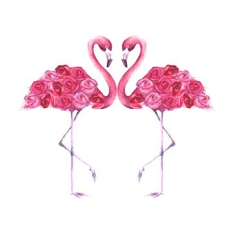 흰색 배경에 장미가 격리된 열대 이국적인 분홍색 플라밍고 한 쌍. 수채화 손으로 그린 천연 식물 고전 삽화는 청첩장, 연하장을 위한 것입니다.