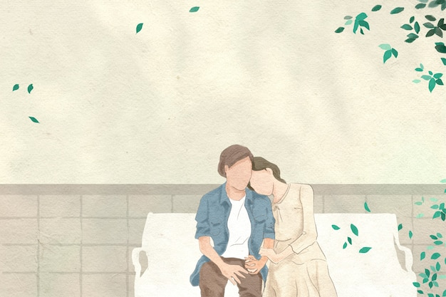 정원에서 데이트하는 커플 발렌타인 테마 손으로 그린 그림