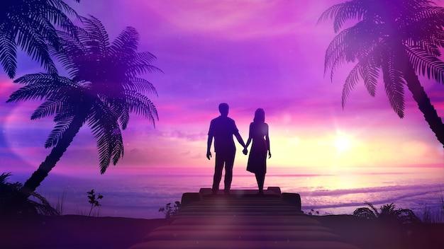 Пара на фоне тропического заката