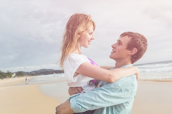 Couple people or tourist from europe with happy and relax time on the tropical beach