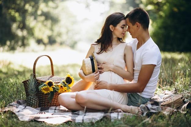 恋人、妊娠、公園でピクニックをする