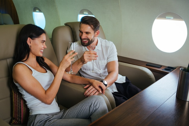 Couple on private jet