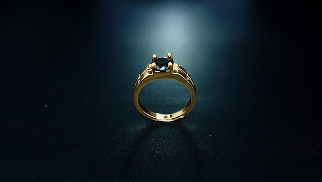 Couple ring with black pearl 01