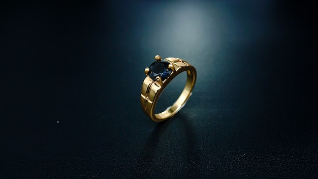 Couple ring with black pearl 02