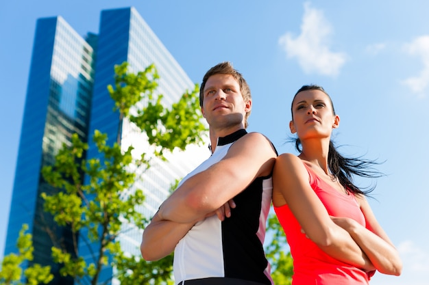 Couple running in the city