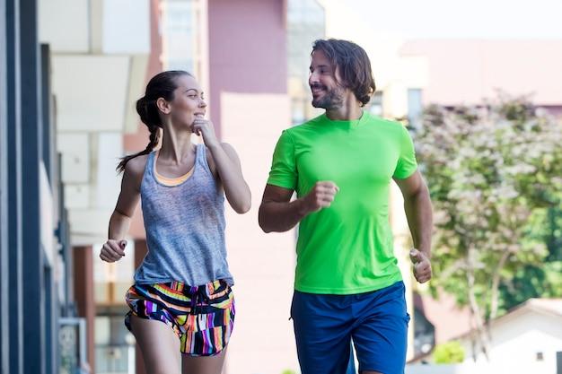 Couple running in urban enviroment