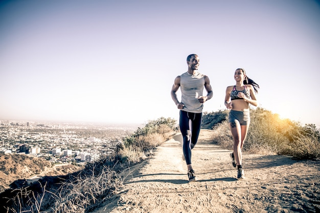 Couple running