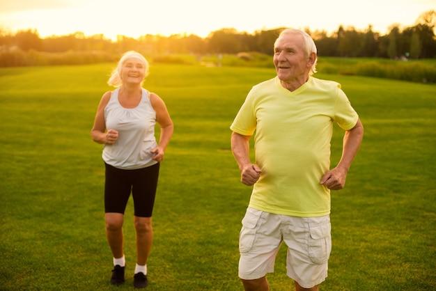 Couple of seniors jogging