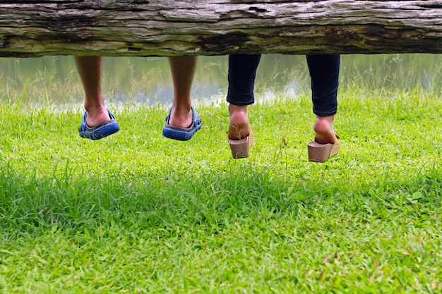 Couple sitting next to each other on a log - romantic concept