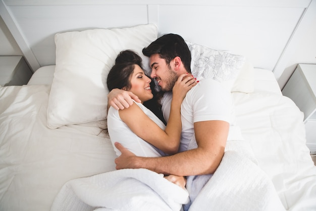 Couple smiling and looking at each other