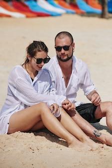 Couple spending day on beach