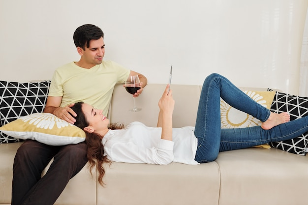 Couple spending weekend at home