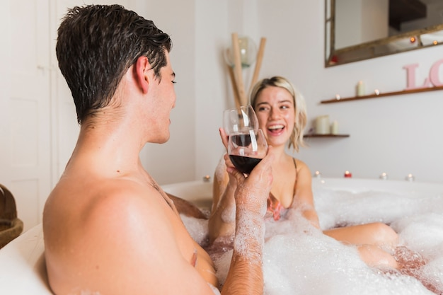 Couple taking a bath on valentines day