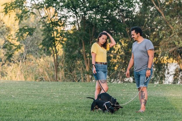 Пара разговаривает друг с другом, гуляя со своими двумя собаками в парке. счастливая пара разговаривает с летней одеждой в солнечный день в парке со своими двумя щенками.