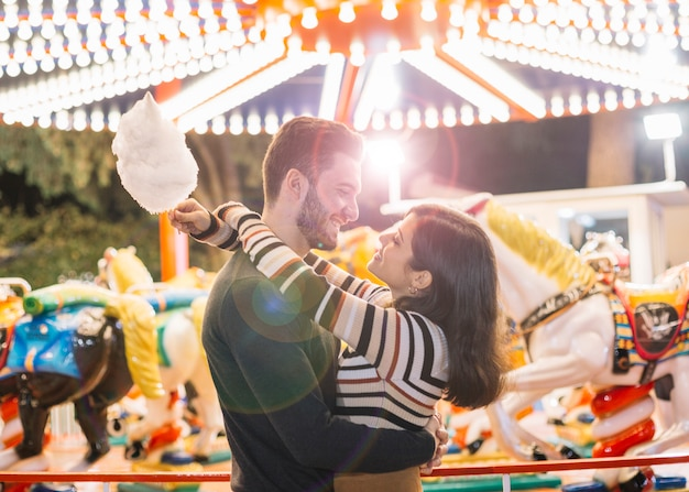 Couple in a theme park