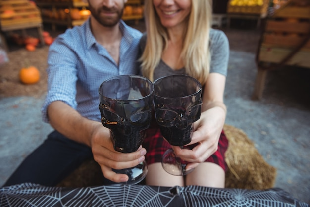 Couple toasting a glasses of wine