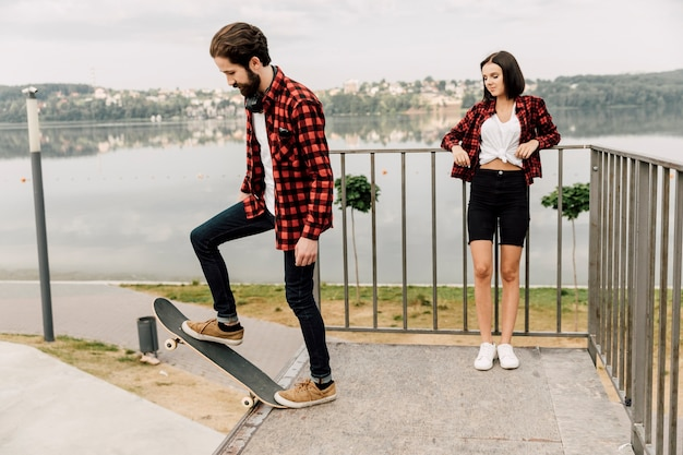Couple together at the skate park
