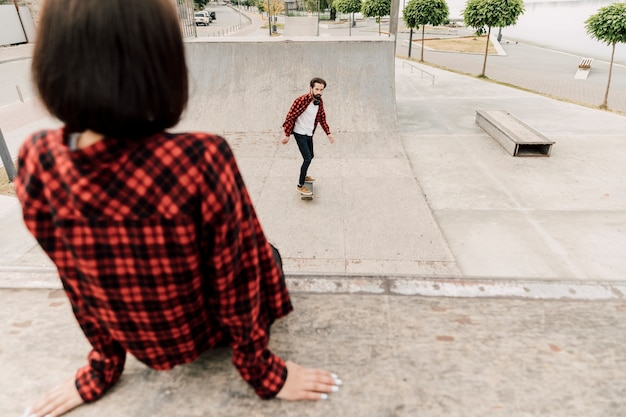 Couple together in the skate park
