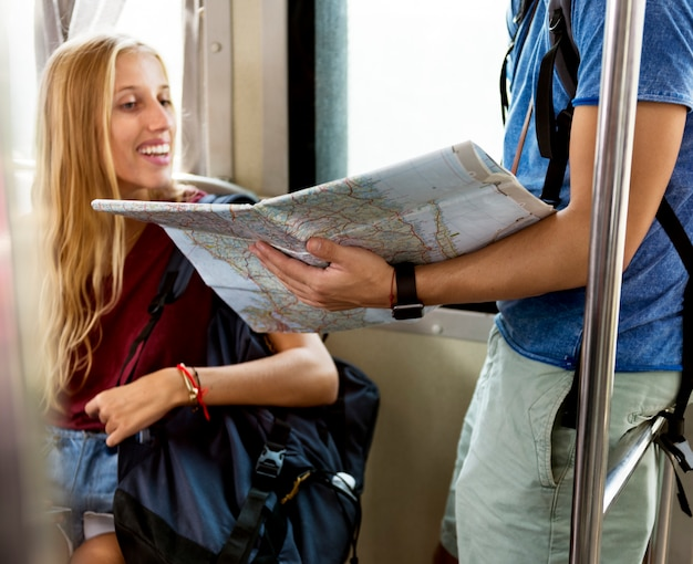 Couple traveling together wanderlust trip