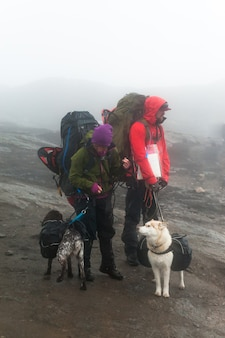 A couple traveling with their dogs