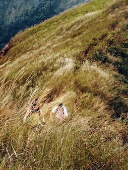 Couple trekking activity hiking mountain