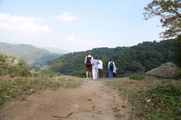 Couple trekking in chiang mai thailand