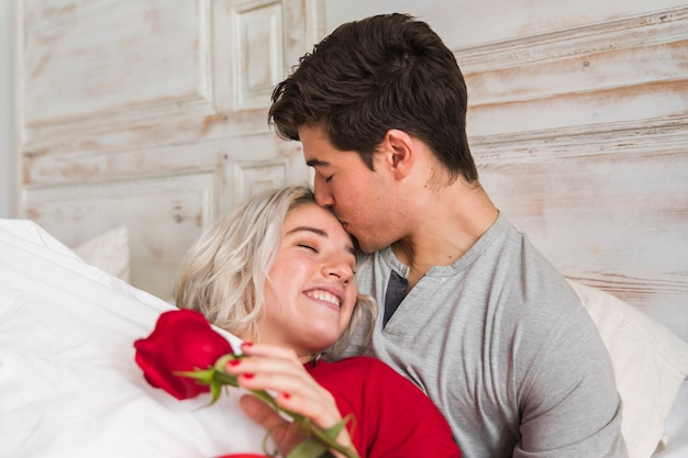 Couple on valentines day morning