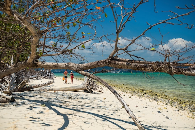 Пара гуляет по пляжу острова пода, краби