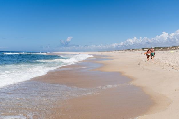 Пара гуляет по райскому пляжу с хорошей погодой