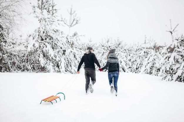 そりのある雪に覆われた森の中を冬に手をつないで歩くカップルは、背を向けてお互いを見つめます