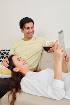 Couple watching comedy movie