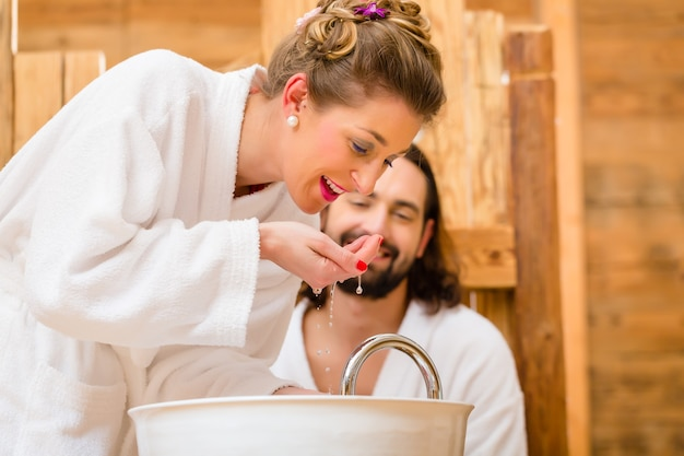 Couple at wellness spa enjoying romantic trip