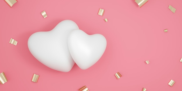 Couple of white hearts and confetti on pink background with valentine day festival. romantic heart