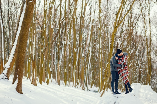 Couple in a winter