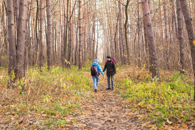 秋の森を歩くバックパックとカップル、戻って