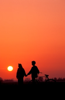 Couple with bicycle holding hands silhouetted against sunset sky