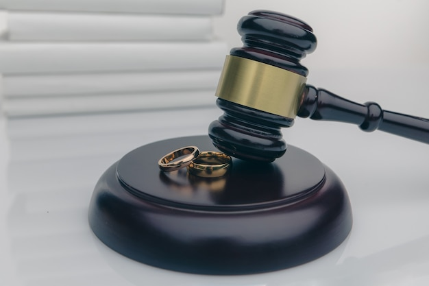 Couple with divorce contract and ring on desk.
